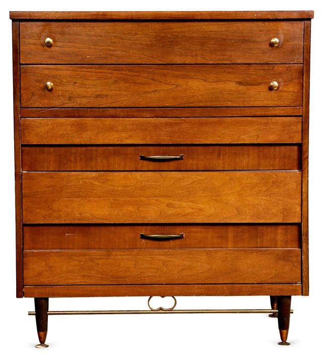 Walnut & Brass Tall Dresser