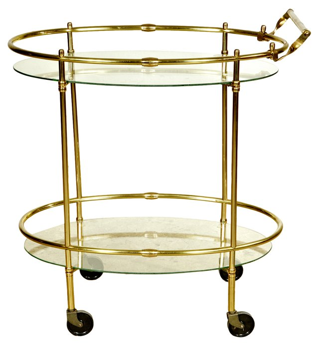 1960s Gold-Tone Metal & Glass Bar Cart