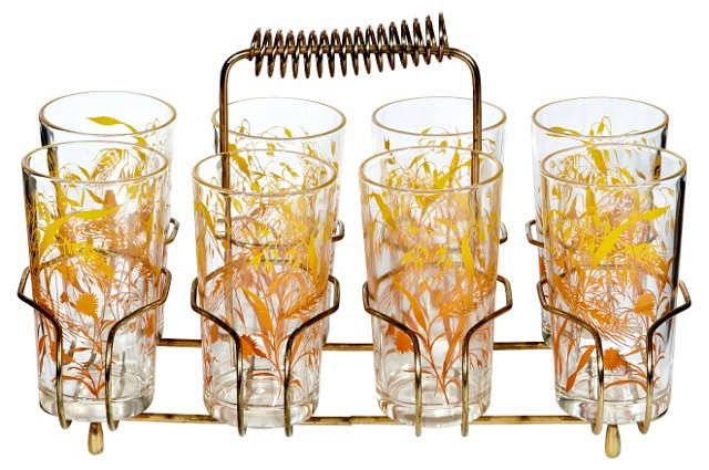 1960s Wheat Glasses w/ Carrier, S/9