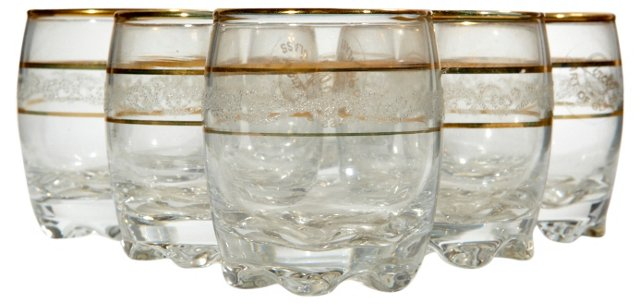 1960s Gilt & Foral Banded Tumblers, S/6