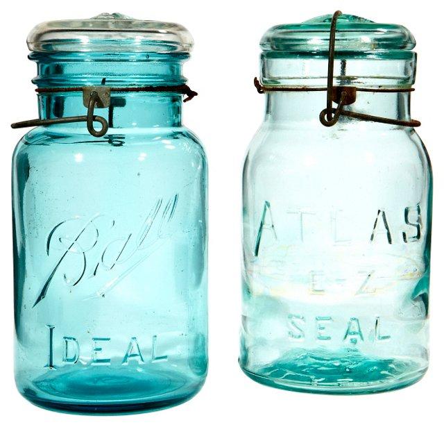 Glass Kitchen Canning Jars, Pair