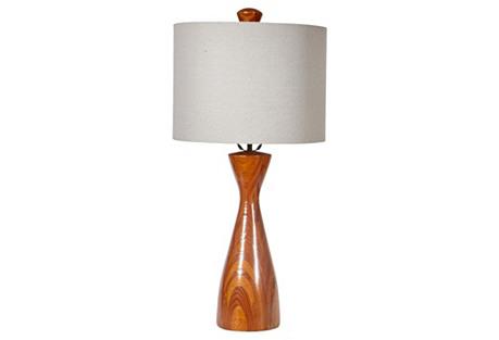 1960s Wood Grain Table Lamp