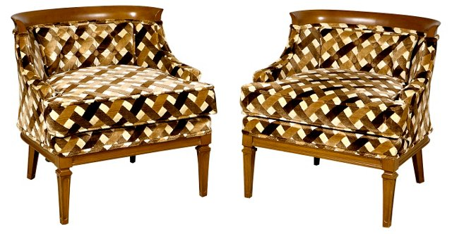 1960s Barrel Chairs, Pair