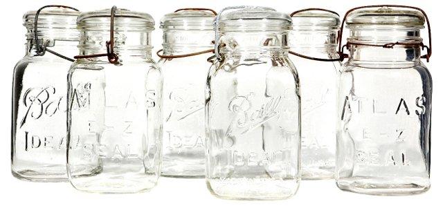 Clear Glass Kitchen Jars, S/6