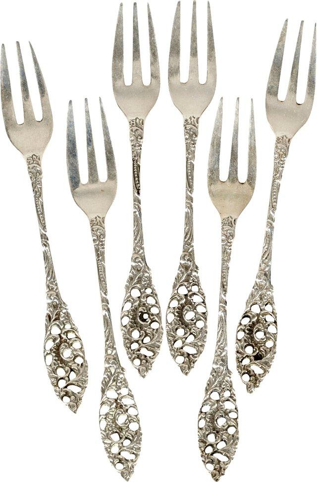 Sterling Silver Floral Forks, S/6