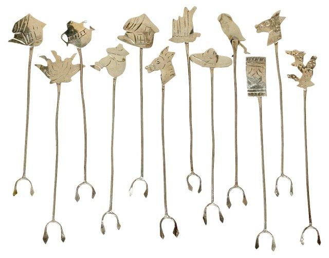 Sterling Silver Olive Forks, S/12