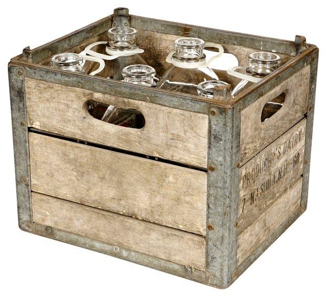 Milk Crate w/ Bottles, S/7