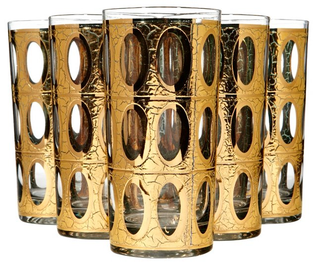 1960s Gilt Oval-Pane Style Tumblers, S/6