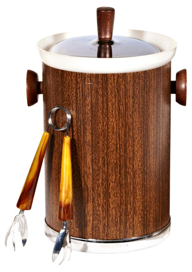 1960s Faux-Bois Ice Bucket w/ Tongs