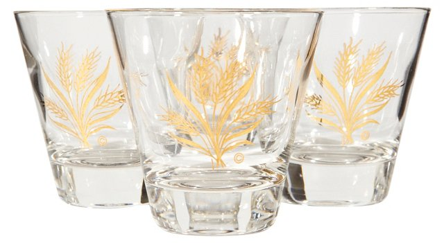 1960s Wheat-Design Tumblers, S/4