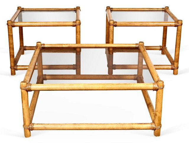 1960s Rattan Tables, S/3