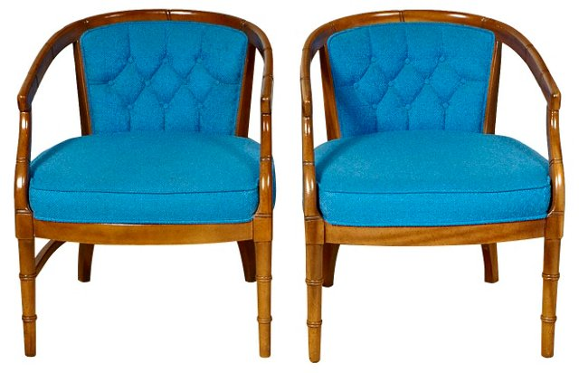 1960s Faux-Bamboo  Chairs, Pair