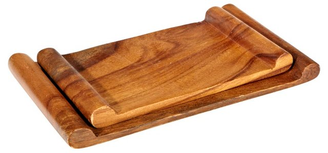 1960s Wood Serving Trays, Pair