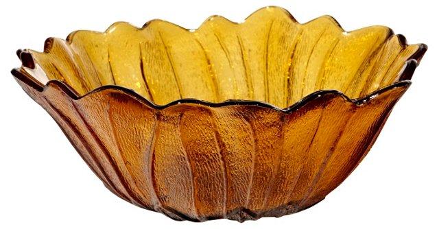 1970s Amber Leaf Glass Bowl