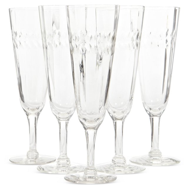1950s Etched Champagne Stems, S/5