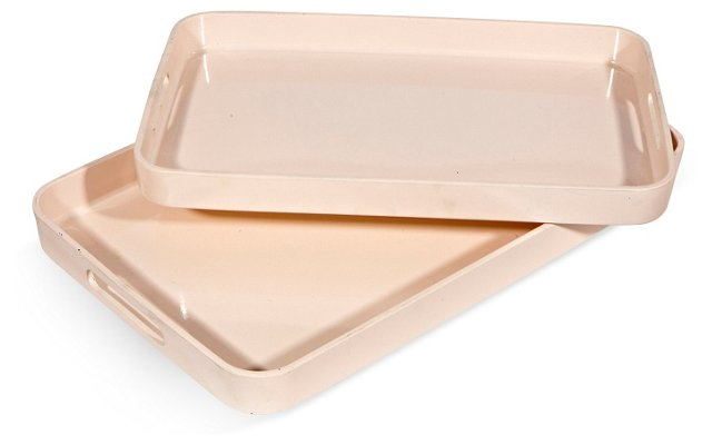 1960s Pink Serving Trays, Pair