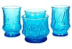1970s Blue Floral Glass Tumblers, S/4