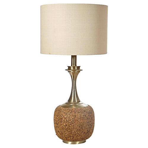 1960s Tall Cork Lamp Base