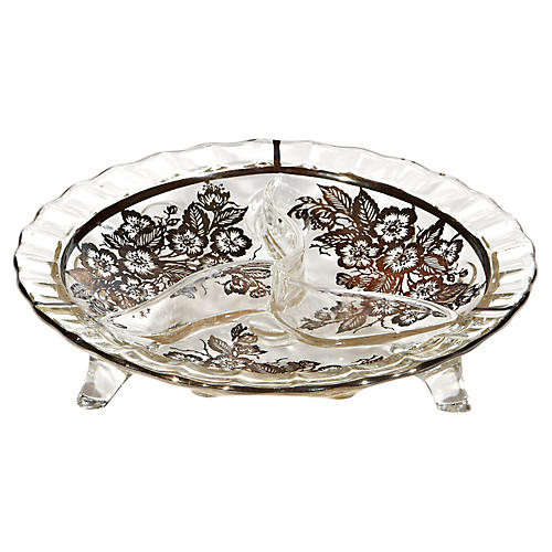 Glass Footed Silver Floral Bowl