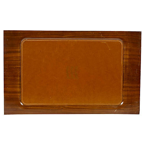 1950s Wood & Leather Serving Tray