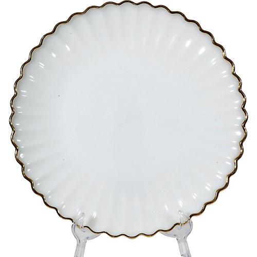 1960s Gilt-Rim White Glass Serving Plate