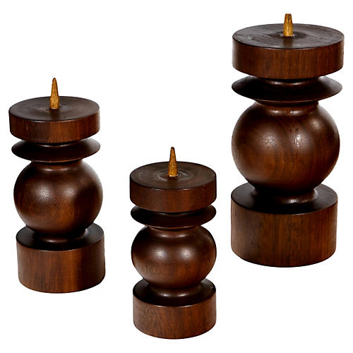 Rosewood Candleholders, S/3