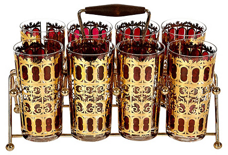 1960s Gilt & Red Glass Tumbler Set, S/9