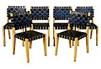 1950s Navy Blue Webbed Chairs, S/6