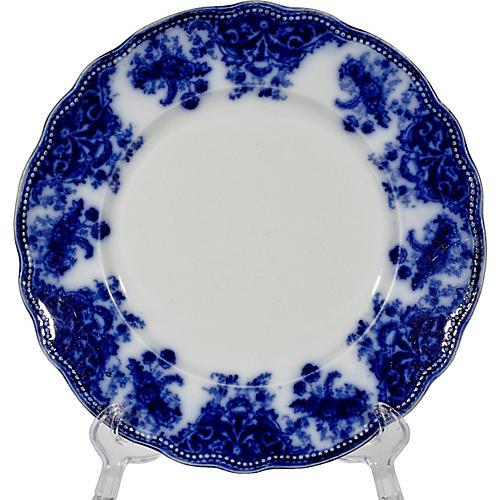 English Flow Blue Florentine Plate