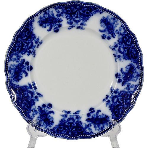 English Flow Blue Florentine Plate