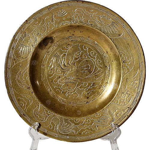 1970s Gilt Metal Incised Charger