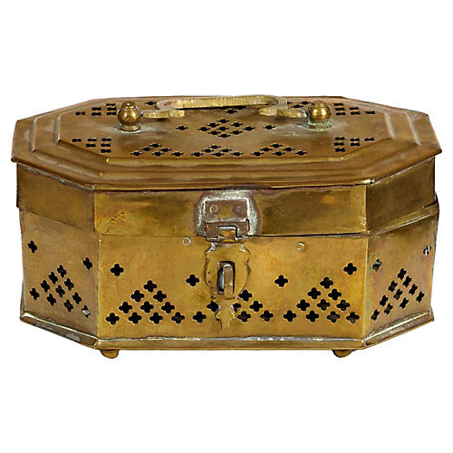 Gilt Reticulated Metal Storage Box