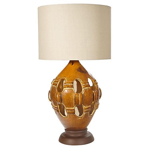 1960s Reticulated Ceramic Table Lamp