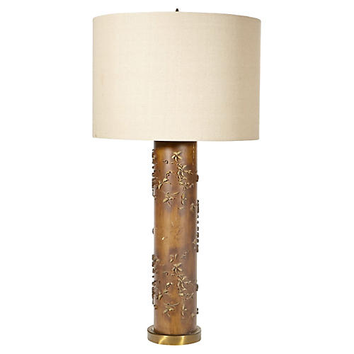 Floral Wallpaper Roller Table Lamp