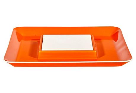 1970s Orange Plastic Serving Plate