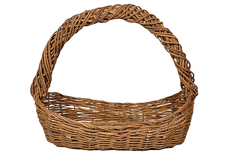 Large Wrapped-Handle Wicker Basket