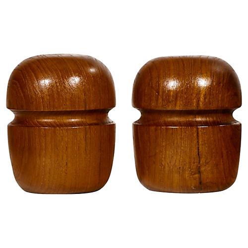 1960s Barrel-Shaped Teak Shakers, Pair