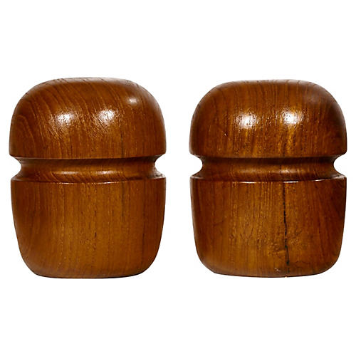 1960s Barrel-Shaped Teak Shakers, Pair
