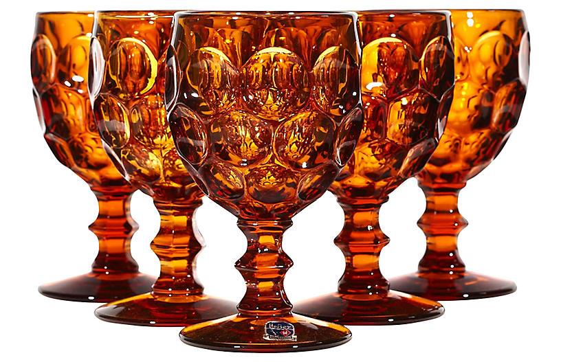 1970s Brown Thumbprint Glass Stems, S/5