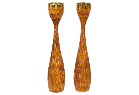 Midcentury Hand-Carved Candlesticks, Pr