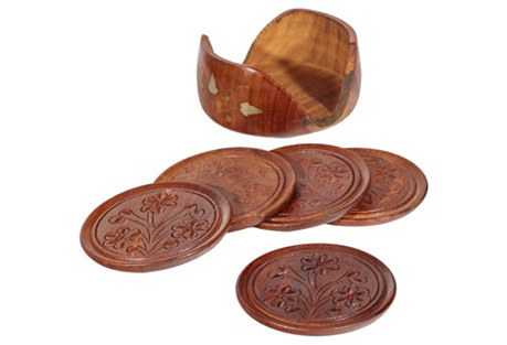 1960s Inlaid Wood Coaster Set, 6-Pcs
