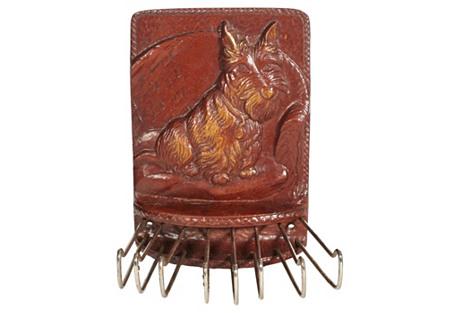 1930s Leather Scottie Dog Tie Rack