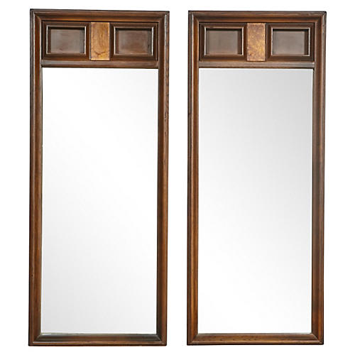 1960s Square-Designed Mirrors, Pair