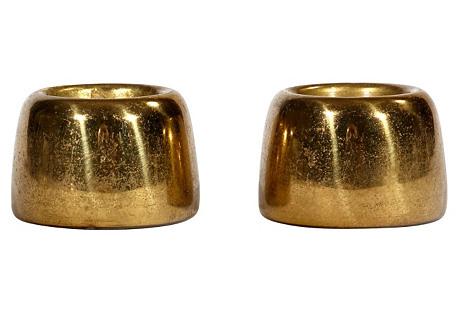 1960s Brass Swedish Candleholders, Pair