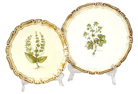 1960s Floral Round Serving Trays, Pair