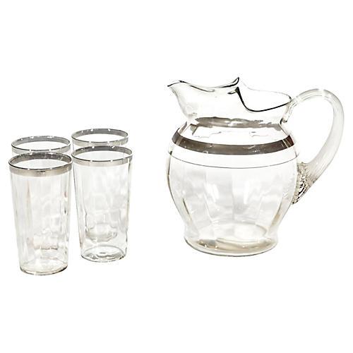 1950s Silver Banded Beverage Set, S/5