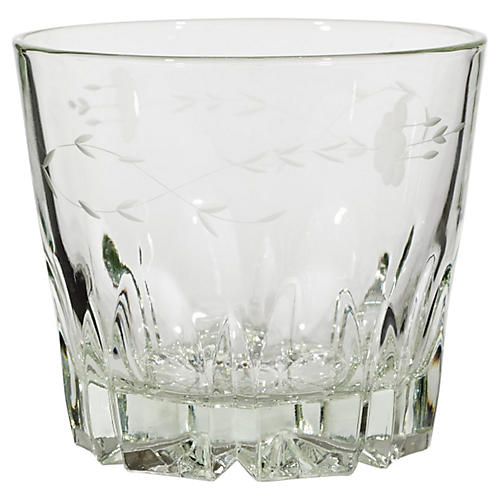 1960s Floral Etched Glass Ice Bucket