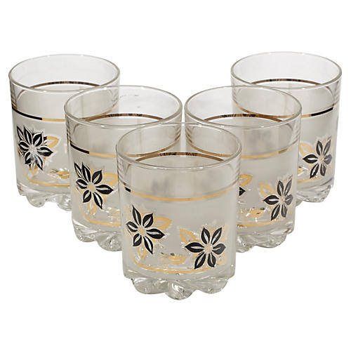 Frosted Black & Gilt Glass Tumblers, S/5