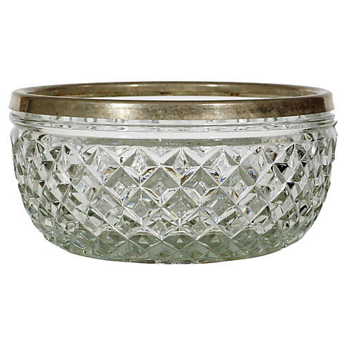 Silver-Plate & Diamond Glass Catchall