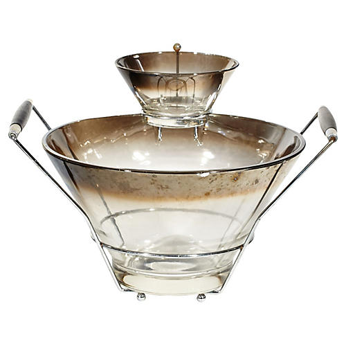 1960s Silver-Fade Glass Serving Set, S/3